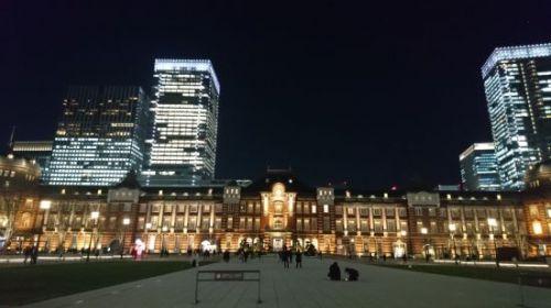 夜景の東京駅&駅弁「東京弁当」&国技館やきとり